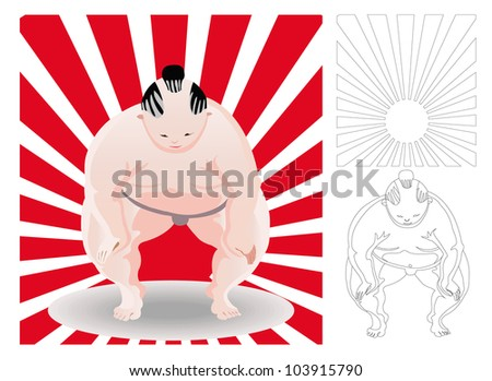 sumo, japan wrestler in front of red ray with out line version