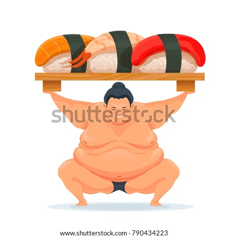 sumo man holding a tray with