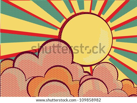 Sun and blue sky with beautifull clouds.Retro image