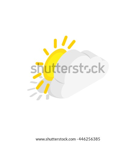 Sun and cloud icon in isometric 3d style on a white background