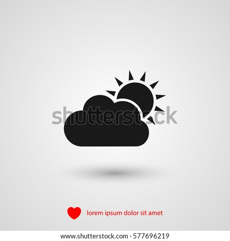 sun and cloud icon vector, weather