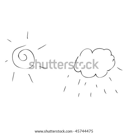 sun and cloud in kids drawing style