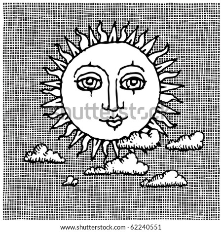 sun and clouds woodcut