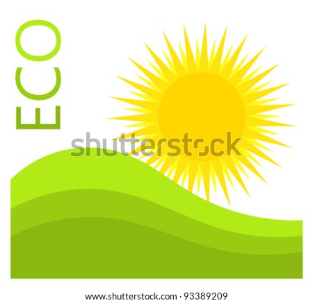 Green Label Singapore Logo Picture on Stock Vector   Sun And Green Hills  Eco Label Vector Illustration