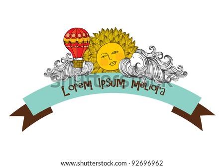 sun and hot air balloon vector/illustration