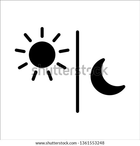 Sun and moon black flat icon. Sign sun and moon. Vector logo for web design, Vector illustration eps10. Isolated on white background