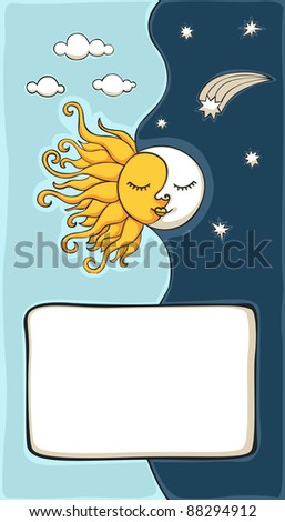Sun and moon cartoon with copy-space