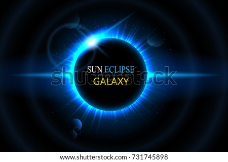 Sun and moon eclipse. Abstract light effect with planet and shining sun. Space background. Isolated on black transparent background.