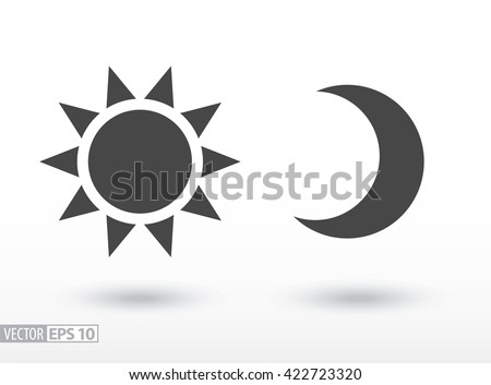 sun and moon flat icon sign