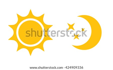 Sun and moon flat icon. Sign sun and moon. Vector logo for web design, mobile and infographics. Vector illustration eps10. Isolated on white background.