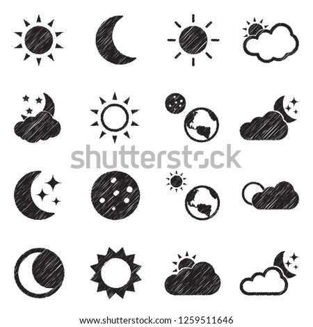 Sun And Moon Icons. Black Scribble Design. Vector Illustration.