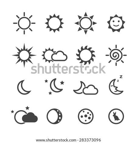 sun and moon icons  mono vector