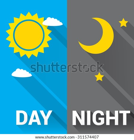 sun and moon in sky  day and