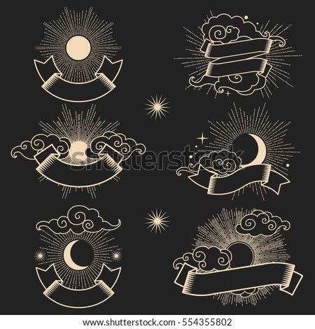 sun and moon in the sky with