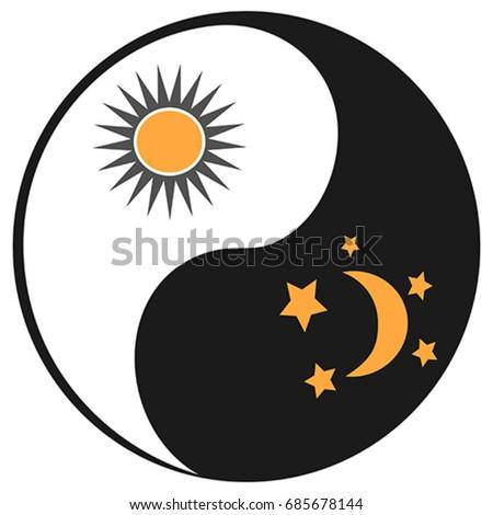sun and moon in ying yang symbol