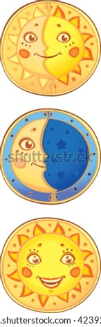 Sun and moon. Old traditional symbols in new style