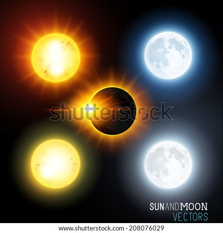 sun and moon vector set