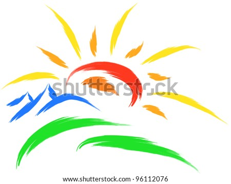 sun and mountain on grass, nature symbol