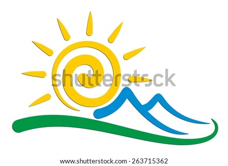 Sun And Mountains Logo Stock Vector Illustration 263715362 ...