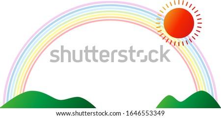 sun and rainbow and mountain
