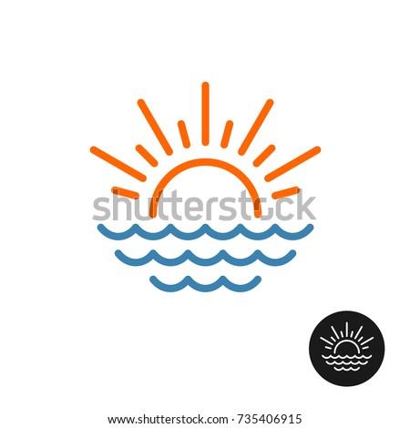 sun and sea logo line style