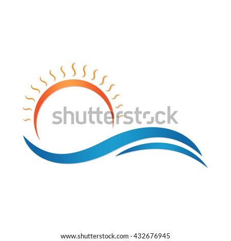 sun and sea summer vector