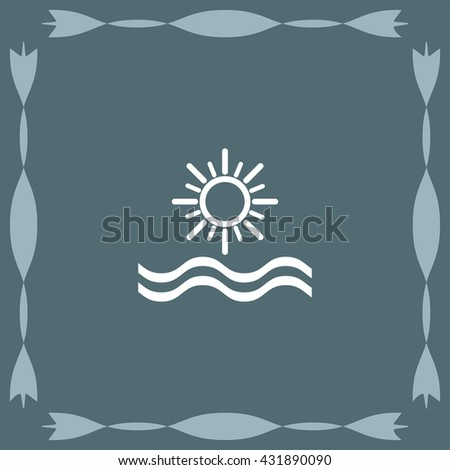 sun and sea vector icon