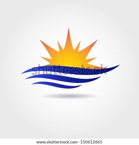 Sun and sea wave symbol