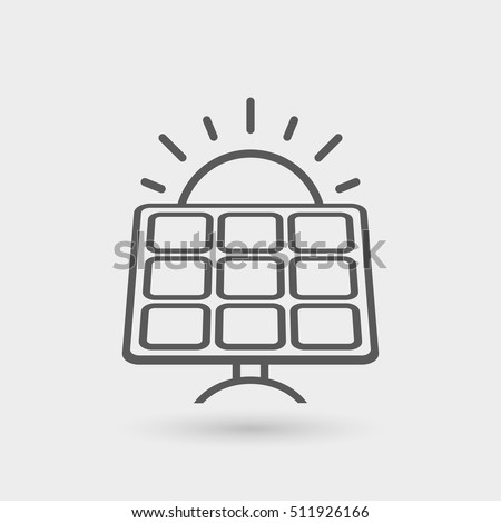 sun and solar panel thin line icon. flat design vector concept illustration for environmental business