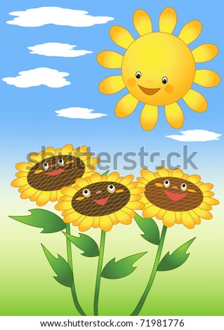 Sun and sunflowers. Vector illustration.