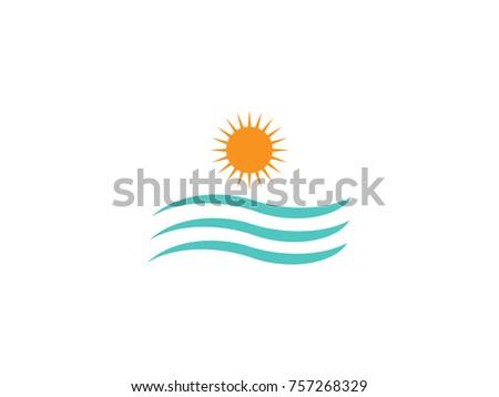 sun and water wave sea logo