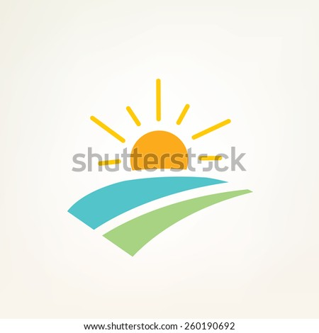sun and water waves simple icon
