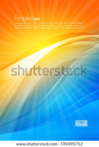 Sun and wave. Abstract digital modern bright color shiny background. Corporate flyer template. Design template layout for corporate business book, booklet, brochure, poster, banner, Vector