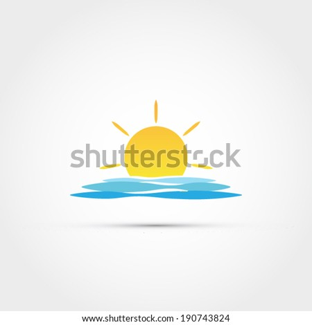 sun and wave design  vector
