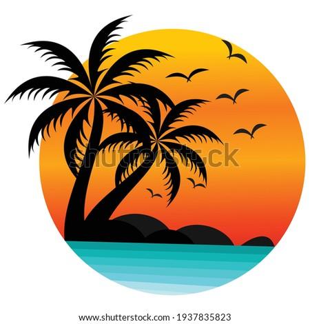 sun beach logo design  sunset