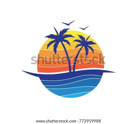 sun beach ocean palm tree