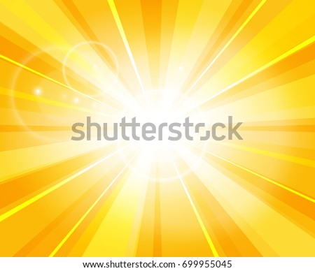 Sun beams pattern. Summer day bright light hot yellow vector illustration or power energy sunshine background