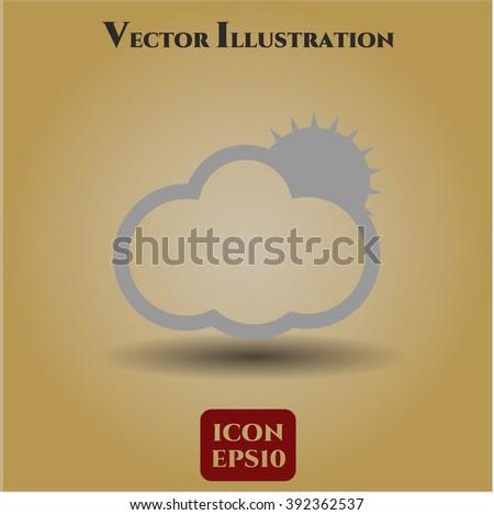 Sun Behind Cloud icon or symbol