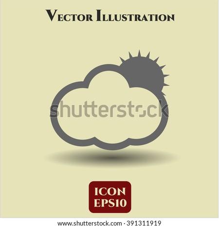 Sun Behind Cloud icon vector illustration