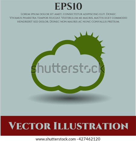 sun behind cloud icon vector symbol flat eps jpg app