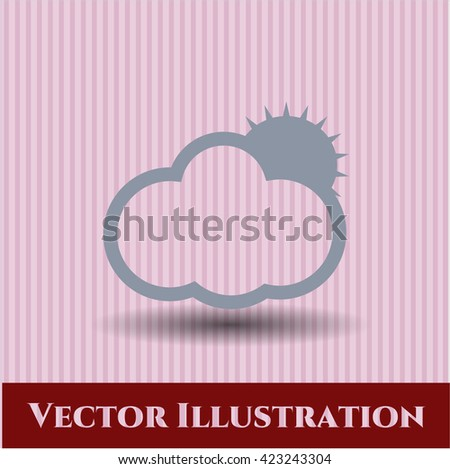 Sun Behind Cloud vector icon
