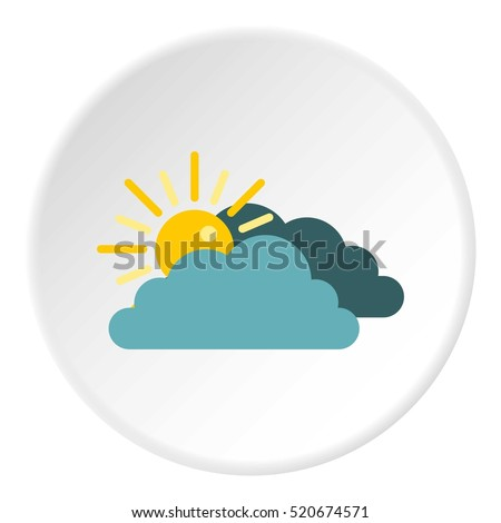 sun behind clouds icon flat