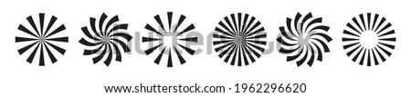 Sun burst radial vector elements. Black burst circular background. Starburst sunburst round shape. Vector illustration. Stock photo ©