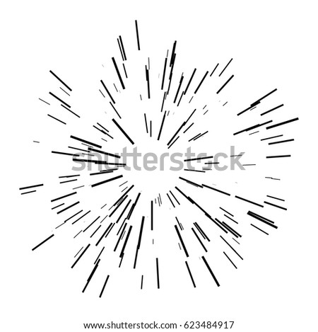 Sun Burst Shapes Dynamic Style Abstract Explosion Speed Motion Lines From The Middle