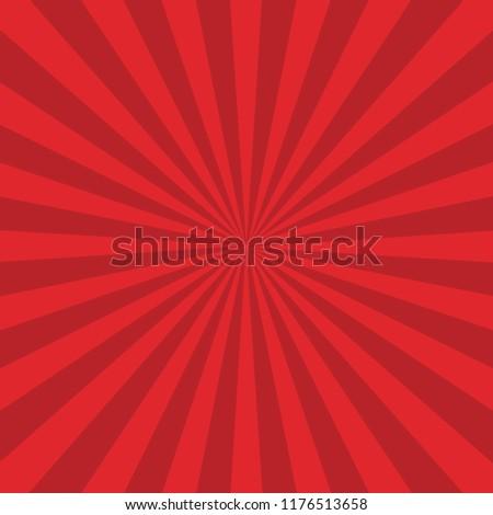 Sun Burst, Sun Rays Background Red. Vector.