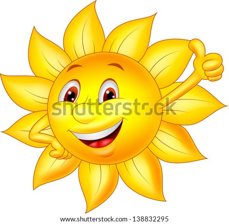 sun cartoon character with