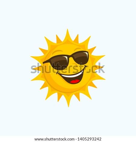 sun cartoon sunglasses happy