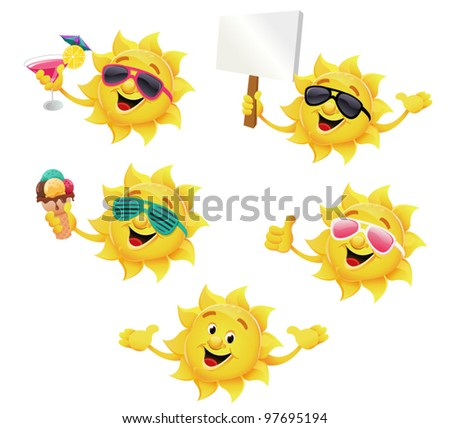 Sun Character Set - stock vector
