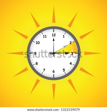 sun clock summer time daylight saving time vector illustration EPS10