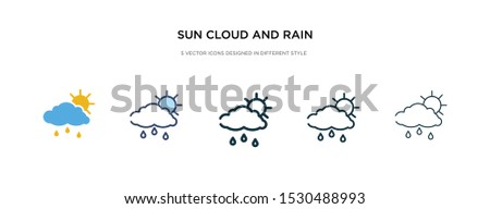 sun cloud and rain icon in